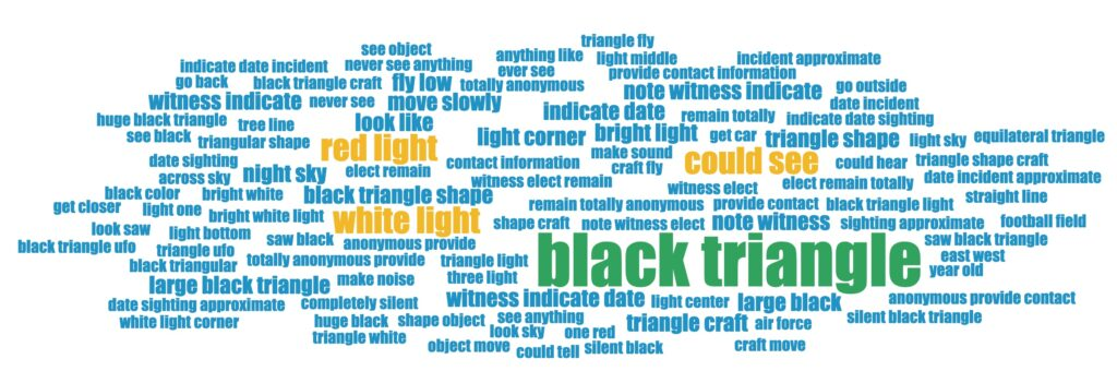Black triangle UFO sightings common terms